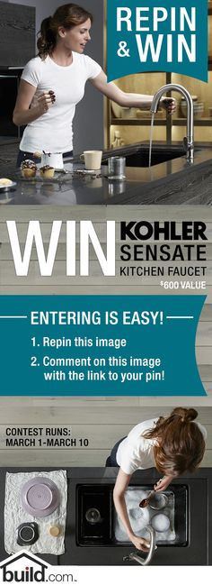 REPIN & WIN a sleek and stunning Kohler Sensate Faucet valued at $600.00. Just 1. Repin this image 2. Comment below with a link to your repin. Winners will be announced March 11! Check out the Kohler Sensate at www.build.com/...