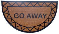 Features:  -100% Coir surface and 100% vinyl back.  -Coir Mats with vinyl backing.  Shape: -Semi-Circle.  Theme: -Text/Novelty.  Color: -Natural, brown and black.  Material: -Natural fiber.  Foot Traf