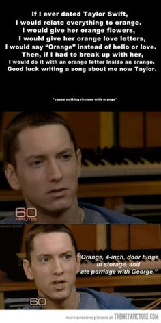 Eminem: possibly the greatest rhymer (is that a word?) ever.