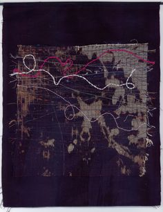 Beth Charles. Journey into Night series, 'Sleepwalker'. Hand and machine stitch on fabric