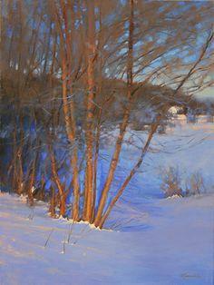 "Sticks and Snow by Barbara Jaenicke Oil ~ 24"" x 18"""