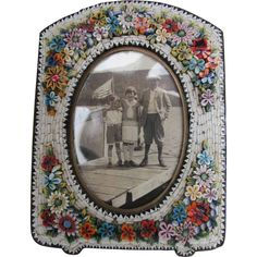 Micro Mosaic Picture Frame with Raised Flowers - 19th century