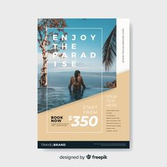 Travel flyer template with photo Free Vector Graphic Design Flyer, Creative Poster Design, Creative Flyers, Poster Designs, Travel Brochure Design, Brochure Design Layouts, Hotel Brochure, Flyer Design Inspiration, Flyer Layout