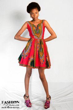 Angelina Print / Dashiki Skater Dress (Various Colors) | FashionGHANA.com: 100% African Fashion