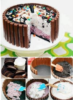 Candy ice cream cake. Put in kit kat bars as shown, process Oreo cookies for crust and spread on bottom layer, then spread your choice of ice cream, some whipped topping, another layer of a different ice cream, whipped topping then decorate with Oreos and candies! Yumm