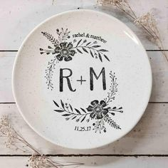 Monogram Coupe, Personalized Pottery, Monogram Wedding Platter with Couple's Names, Ceramic Anniversary Year, Anniversary Gift Pottery Painting Designs, Pottery Designs, Paint Designs, Pottery Ideas, Pottery Gifts, Pottery Shop, Thrown Pottery, Pottery Plates, Wedding Anniversary Years