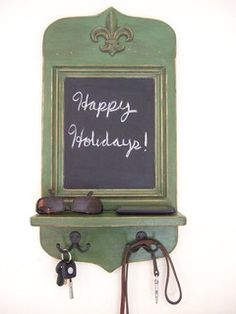 Vintage Style Green Fleur de Lis Message Center by Arcadian Cottage - traditional - hooks and hangers - by Etsy
