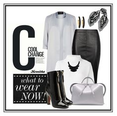 """nr 394 / black-white-grey"" by kornitka ❤ liked on Polyvore featuring Cool Change, River Island, Boohoo, Forte Forte, Jil Sander, Valentino, John Lewis, Chico's and McQ by Alexander McQueen"