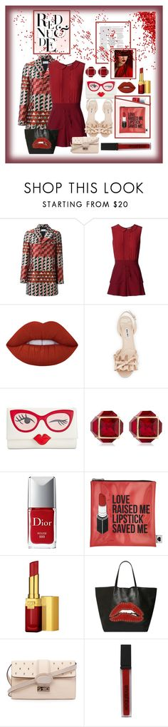 """""""RED & NUDE"""" by onesweetthing ❤ liked on Polyvore featuring RED Valentino, Lime Crime, Miu Miu, Kate Spade, Vita Fede, Christian Dior, Sephora Collection, Estée Lauder and Smashbox"""