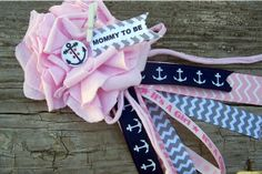 Pink Nautical Mommy To Be Corsage Nautical Theme by BloomingParty, $12.00