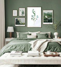 Room Design Bedroom, Room Ideas Bedroom, Bedroom Wall, Green Bedroom Design, Bedroom Designs, Bedroom Retreat, Sage Green Bedroom, Green Master Bedroom, Green Bedroom Decor