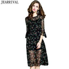 ba48a6bce78 Summer Dress Women 2017 European Fashion Elegant Floral Print Flare Sleeve  Casual Mesh Dress Runway Dress