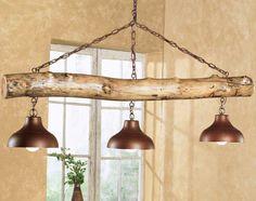 Aspen Log Three Bell Light Fixture