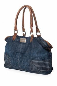 Denim bag -- Bolsa De Denim Lavado Azul atlântico