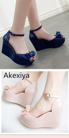 dd1a981d90bc Akexiya Wedges female sandals 2017 color jelly shoes bow platform open toe  high-heeled shoes