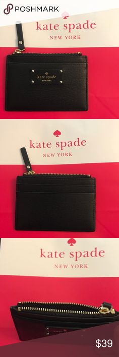 Kate Spade New York card wallet/coin purse Gorgeous leather card wallet/coin purse in black by Kate Spade. 2 card slots in back; 1 card slot in front; 1 zip pocket on top. dimensions: 4.5 in (L) x 3 in (H) x 0.5 in (W). Zip closure, gold toned hardware; Embossed brand name logo tag in the front. Retail price $59. kate spade Bags Wallets