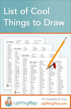 List of Cool Things to Draw for Kids - 125 Ideas of What to Draw — Looking for ideas of what to draw? Printable word lists of things to draw for Winter, Spring, Fall, Summer, Christmas, Easter, and Thanksgiving. Get Started #drawing #kidart http://upliftingplay.com/list-of-cool-things-to-draw/