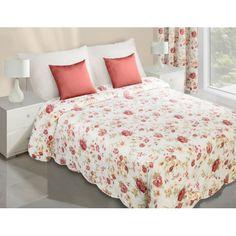 f188b188b024b Prehoz obojstranný na manželskú posteľ v krémovej farbe s červenými kvetmi