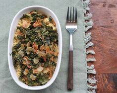 garlicky kale with toasted coconut
