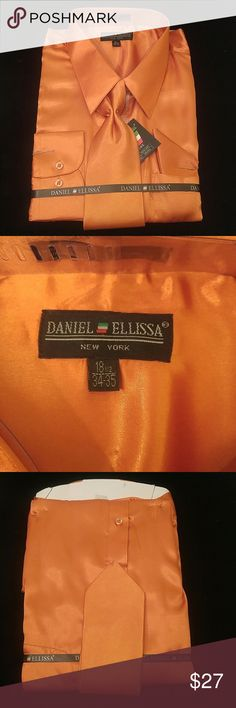 MEN'S DRESS SHIRT ORANGE COMBO PACK BY DANIEL ELLI Combination shirt, tie, pocket square. Regular fit. Brand:DANIEL ELLISSA Style:DS3012 NP2 Orange Material:100% polyester satin rayon New in the bag      This shirt can be SPECIAL ORDERED in your size through Poshmark. Email me @shirtman48 for details. DANIEL ELLISSA Shirts Dress Shirts
