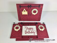 "Double Slide Barn Door, Country Livin"", Stampin'Up!, Sliding Cards, Stampin'Up!, Frenchie Stamps, Red Barn,"