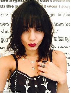 Keeping busy: The 25-year-old actress shared this photo of her new hairstyle on Friday, writing, '@riawnacapri BANGED ME GOOD @ninezeroone'