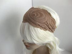 Mocha Coffee Swirls Stretch Lace Headband by FlowerCityThreads, $10.00