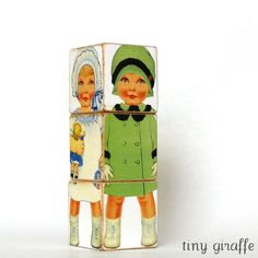 Wood toy Paper Doll Blocks Babies wooden block puzzle shabby chic nursery decor. $16.00, via Etsy.