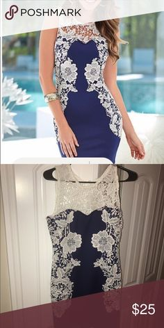 ⭐️Gorgeous Venus navy and white dress. ⭐️ Venus brand. Fitted navy and white flower lace design dress. 🌸 Great for summer. Worn once. VENUS Dresses Midi