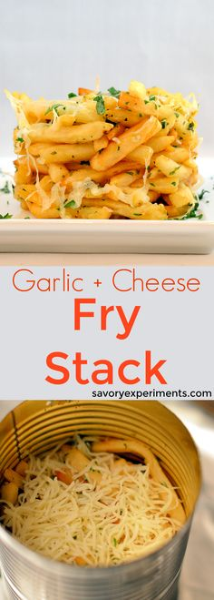Cheesy Garlic French Fry Stack Recipe – I bet you already have the tool I used to make this easy and fun fry stack in your kitchen right now! Garlic, cheese and parsley elevate these frozen fries from boring to AMAZING! www.savoryexperiments.com