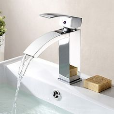 Contemporary Solid Brass Bathroom Sink Taps - Chrome Finish