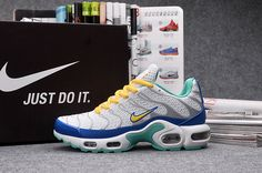 NEW NIKE AIR MAX Plus TN KPU Tuned Men's Running Shoes US 10-White Blue Yellow