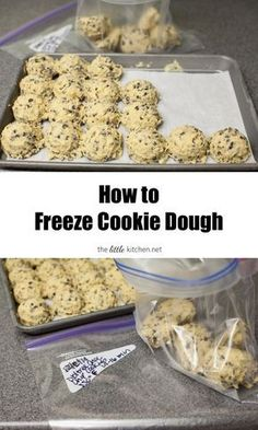 How to Freeze Cookie Dough. A friend told me about this trick years ago. She would freeze cookie dough and then make a few each day when her kids came home from school. I do it now that we are empty n (Christmas Bake To Freeze) Köstliche Desserts, Delicious Desserts, Dessert Recipes, Yummy Food, Plated Desserts, Drink Recipes, Vegan Recipes, Frozen Cookie Dough, Cookie Dough Recipes