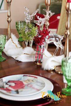 christmas decor, dining room, christmas center piece, christmas dishes, holiday decor, holidays, reindeer, fur, candlesticks
