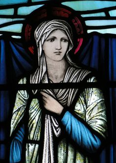Butterleigh, Devon North aisle window, by Morris and Co, 1928 : detail - Mary Virgin, by Edward Burne Jones