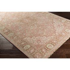 Rose Pink Vintage Floral Wool Area Rug - Available in a Variety of Sizes