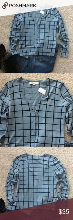 """LOFT Cardigan LOFT Cardigan. Super cute blue with black. V neck, button front. Laying sleeves. Laying flat approx 22.5"""" shoulder to hem, approx 18"""" pit to pit. 100% cotton. Size S. NWT, never worn. #692 LOFT Sweaters Cardigans"""