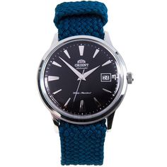 Chronograph-Diver Orient Automatic Watch with Perlon St Gents Watches, Stylish Watches, Luxury Watches, Cool Watches, Orient Watch, Authentic Watches, Automatic Watches For Men, Watch Companies, Chronograph