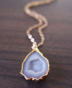 Petite vanilla grey agate druzy 14k gold pendant necklace