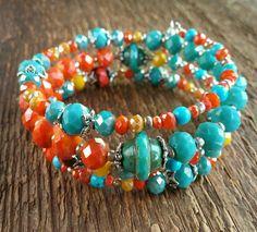 Wrap Bracelet, Bohemian Jewelry, Czech Bead Bracelet, Memory Bracelet, Beaded Bracelet, Boho Bracelet, Layering Bracelet by EponasCrystals on Etsy