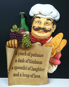 Good Italian French Fat Chef Statue Bon Appetit Decorative Wall Plaque Kitchen  Decor
