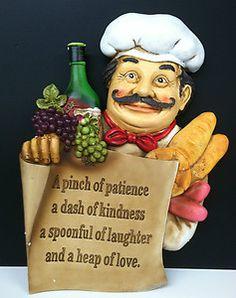 Italian French Fat Chef Statue Bon Appetit Decorative Wall Plaque Kitchen Decor