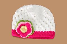Shop online in India the beautiful and bright white colored crochet knitted baby  cap on sale b9efbd8deeff