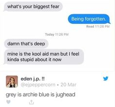 I don't like Riverdale, but this text conversation is funny