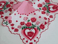 Pink Hearts and Red Roses Valentine Vintage Style Cotton Hankie - Vintage Style Hankies - Roses And Teacups