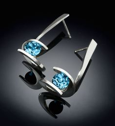 Argentium silver and Swiss blue topaz earrings designed by David Worcester for VerbenaPlaceJewelry.Etsy.com
