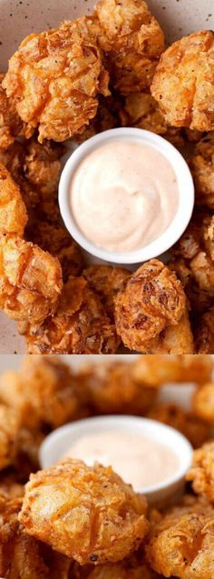 These Bite-Sized Blooming Onions are so much better than the full-sized version. Each bite has a crispier crust and everything is just better bite-sized! via @bestblogrecipes Easy To Make Appetizers, Yummy Appetizers, Appetizers For Party, Appetizer Recipes, Bite Size Snacks, Bite Size Appetizers, Veggie Recipes, Snack Recipes, Cooking Recipes