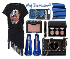 """""""Street style: My Birthday!"""" by sisaez ❤ liked on Polyvore featuring Balmain, Gianvito Rossi, NARS Cosmetics, Moschino, Yves Saint Laurent, Witchery and NYX"""