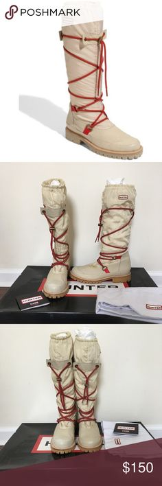 """Hunter Summit High Shafts Cream colored water resistant leather boots feature a wraparound red drawstring tie on the slouchy nylon shaft. Logo tag & gathered elastic band at the top. Seam detailing at the toe & heel cap. 1/2"""" rubber platform and 1"""" rubber heel. 16"""" shaft & 15 1/2"""" circumference. Fleece lined & lug sole. There are a couple marks/stains (as pictured) Which can probably be cleaned professionally. Worn twice. Comes with original box, dust bag & Hunter care card. Hunter Boots…"""