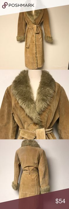 Vintage Suede and Faux Fur Coat Almost famous in this Penny Lane style coat. Love the long long length. The faux fur trim is so boho chic. Couple of spots, mainly on the top of the belt,  that are shown in pics. Very good condition. Vintage Jackets & Coats